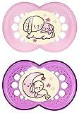 MAM Night Latex Schnuller, Doppelpackung, 6-16 Monate für Mädchen