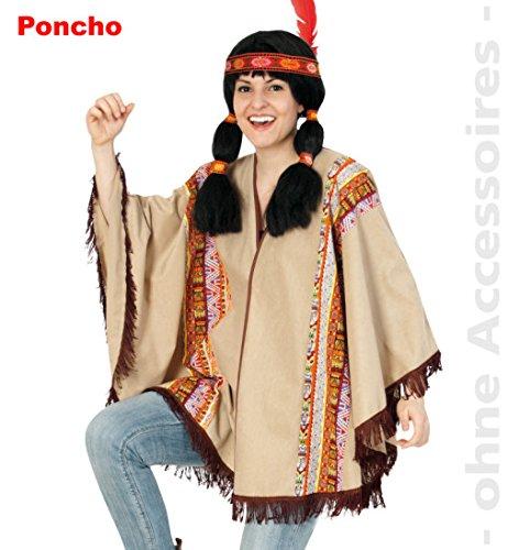 Poncho Western Indianer Gaucho Indianer-Kostüm Umhang Fasching Karneval Einheitsgröße Unisex (Maya Motto Party Kostüm)