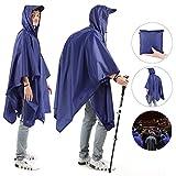 Andake High Waterproof Rain Poncho PU 8000 MM , Adjustable Neckline Raincoat With Safe Reflective Tape,Multi-Functional As Rain Poncho, Sunshade Tarp, Ground Mat for Outdoor Activities (M (175-185 CM), Blue)