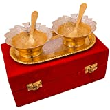 Jaipur Ace Beautiful Silver And Gold Plated Leaf Shaped Bowls Set With Tray