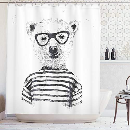 ABAKUHAUS Duschvorhang, Hipster Bär mit Gestreiftem Shirt und Lächeln Retro Design Digital Print Druck Schwartz Weiß, Blickdicht aus Stoff inkl. 12 Ringe für Das Badezimmer Waschbar, 175 X 200 cm -