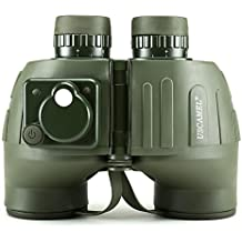 USCAMEL 7x50 Prismáticos de Resistente al agua, Antiniebla, con Telémetro, Brújula, Para uso Militar, Verde Militar