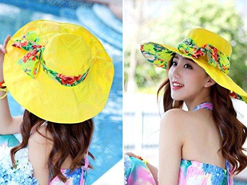 Chapeau de soleil d'été Femme plage chapeau Protection solaire de printemps et d'été Anti-UV Génial le long de plein air Pliable chapeau de soleil chapeau de soleil Pour les voyages de plage sortants  3