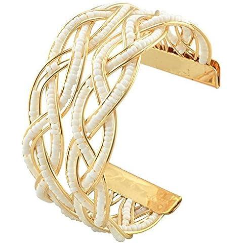 SaySure–18K Chapado en oro Pulseras abiertos pulsera, Mujer, blanco