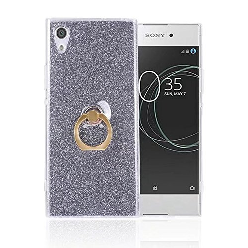 Soft Flexible TPU Back Cover Case Shockproof Schutz Shell mit Bling Glitter Sparkles und Kickstand für Sony Xperia XA1 Ultra ( Color : White ) Black