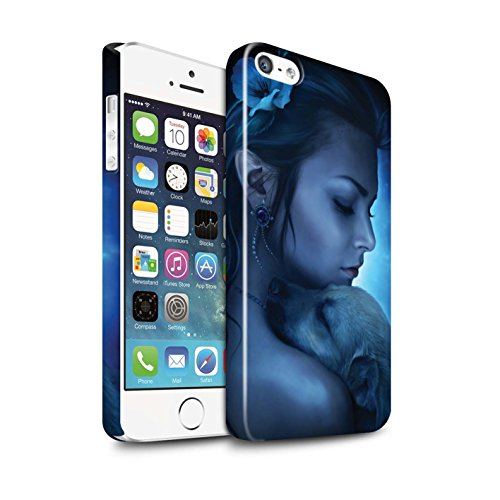 Officiel Elena Dudina Coque / Clipser Brillant Etui pour Apple iPhone SE / Trois dans la Nuit Design / Les Animaux Collection Le Calin/Chiot/Chien