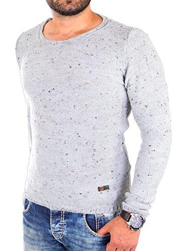 Reslad Strickpullover Rundhals Herren-Pullover melierter Pullover RS-3105 Grau