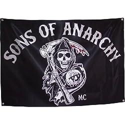 """Bandera de Hijos de la Anarquía, diseño con texto """"Sons of Anarchy"""""""