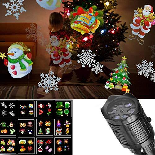 (YANGLAN LED Taschenlampe Karte Projektionslampe, 12 Film Außen Projektionslampe Dekoration Licht, Dynamische/Statische Weihnachten Schneeflocke Lampe)