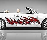 2x Seitendekor rote Flecken Metall Kratzer 3D Autoaufkleber Digitaldruck Seite Auto Tuning bunt Aufkleber Rennstreifen Seitenstreifen Airbrush Racing Autofolie Car Wrapping Motorrad Decals Sticker Tribal Seitentribal CW047, Größe LxB:ca. 160x40cm
