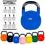 MSPORTS Kettlebell Competition 12 kg | Professional Studio Qualität | inkl. Übungsposter | Wettkampf Kugelhantel