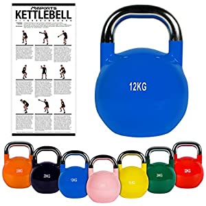 MSPORTS Kettlebell Competition 4-32 kg inkl. Übungsposter | Professional Studio Qualität | Wettkampf Kugelhantel