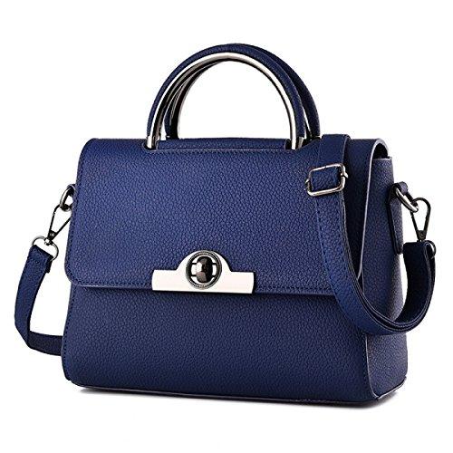 Neue Ledertasche Damen Handtasche Umhängetasche Mode Kleine Quadratische Tasche,Blue