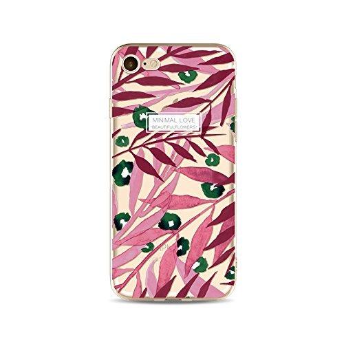 Coque iPhone 5 5s Housse étui-Case Transparent Liquid Crystal en TPU Silicone Clair,Protection Ultra Mince Premium,Coque Prime pour iPhone 5 5s-Les feuilles-style 8 13