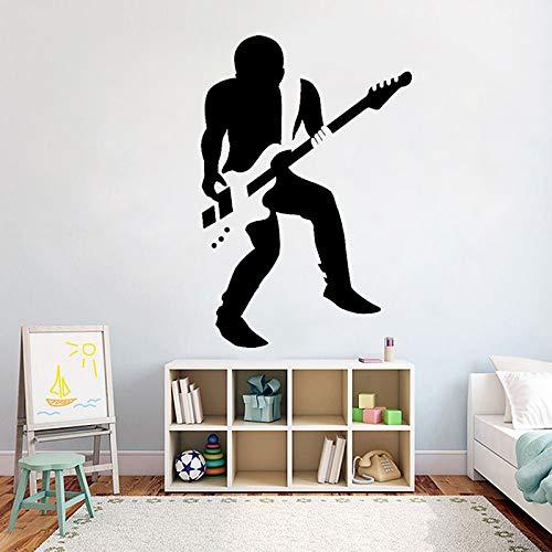Jxlk adesivo da parete per chitarrista rock vinile musica ragazzi cantante per chitarra adesivi murali camera da letto carta da parati amovibile per decorazioni per pareti wallpaper 42x62cm
