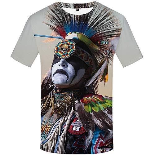 DUANXIUGE 3D Digital Gedruckte Indische T-Shirt Männlich Rundhals Kurzarm Heiß S-XXXL
