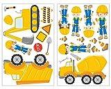 Adesivo da parete Set 23 Pezzi cantiere con ruspa macchinari per costruzioni operaio camion Adesivi da parete per decorazione da parete di camera dei bambini/camera del bambino per ragazzo/ragazza/bambini/Baby 2x21x34cm