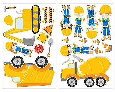 23-teiliges Bagger Baustelle Baumaschine Bauarbeiter LKW Wandtattoo Set Kinderzimmer Babyzimmer in 4 Größen (2x21x34cm mehrfarbig)