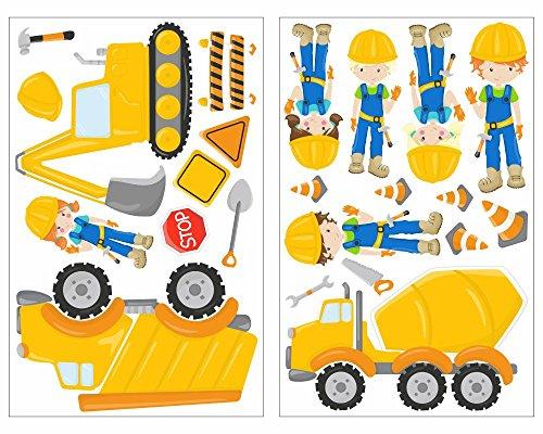 plot4u 23-teiliges Bagger Baustelle Baumaschine Bauarbeiter LKW Wandtattoo Set Kinderzimmer Babyzimmer in 5 Größen (2x21x34cm mehrfarbig)