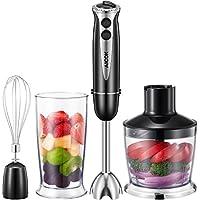 Stabmixer, Aicok 4 in 1 Pürierstab, Stabmixer Set BPA-FREI Becher, Zerhackerbecher und Schneebesen, geeignet für die Zubereitung von Babynahrung, Salaten, Suppen und Gemüse, Schwarz