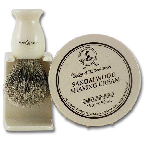 Taylors Sandalwood Shaving Cream 150g Tub and Super Badger Hair Shaving Brush Set by ESC