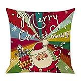 Fenverk Weihnachten Kissenbezug Merry Christmas bettwäsche deko Kissenbezug Elch Weihnachtsmann Glocke Elf Rentier Rudolph Weihnachtsmann Sofa kissenhuelle 45x45cm(B)