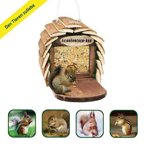 Gardigo Eichhörnchen-Bar Futterspender aufhängbares Futterhaus aus Holz naturfarben