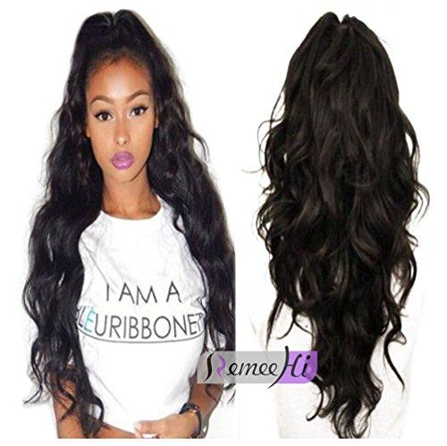 remeehi lang body Wave Front Lace Echthaar Perücken für Damen schwarz 100% echtes menschliches Haar Perücken mit Baby Haar um