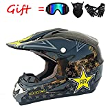 ZJRA Black Star Full Face Helmet with Goggles Gloves Mask Helmet, MTB Adult Motorcycle Motocross Helmet Set Motorbike Off Road Crash Helmet Protective Gear,DOT,L58~59cm