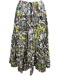 b3cf49de83 Mogul Interior Womens Festive Skirt Green Printed Flare Crinkle Boho Maxi  Skirts