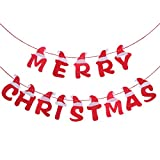 3.5 Meters Fabric DIY Merry Christmas Letter Banners Decoration with Santa Hat Design Christmas Bunting Garlands Xmas Tree Ornaments Pendants for Home Holiday Party