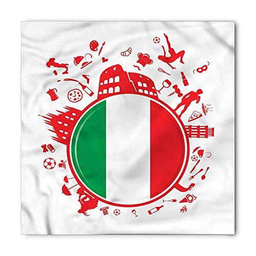 BBABYY Italian Flag Bandana, Soccer Player Pizza, Unisex Head and Neck Tie M100*100CM