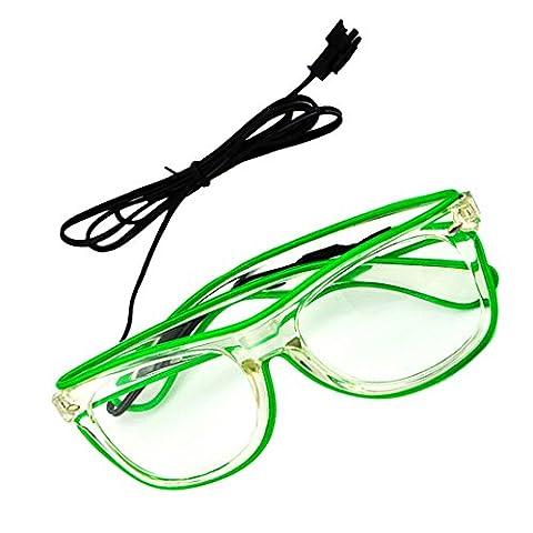Rosa Schleife® LED Leuchten Luminous Brille Erstaunliche Kühle Brillen Glow Eye Fashion Eyewear Maske für Club Bar Disco DJ, Raves Verrückt, Christmas Nachtparty, Kostüme (Grün (Gruppe Von Vier Kostüme)