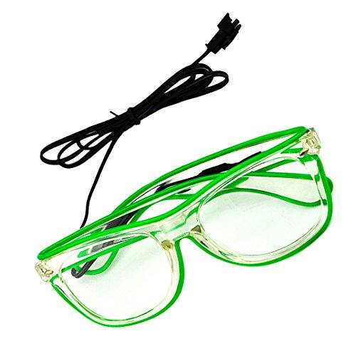 Rosa Schleife® LED Leuchten Luminous Brille Erstaunliche Kühle Brillen Glow Eye Fashion Eyewear Maske für Club Bar Disco DJ, Raves Verrückt, Christmas Nachtparty, Kostüme (Grün Licht) (Gruppe Kostüme 8 Für)