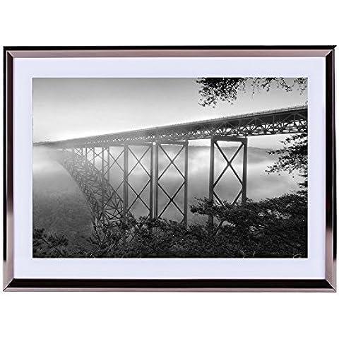 NEW River Gorge Bridge, West Virginia, Stati Uniti–stampa artistica da parete argento cornice in legno Picture 40,6x 30,5cm Nero Bianco