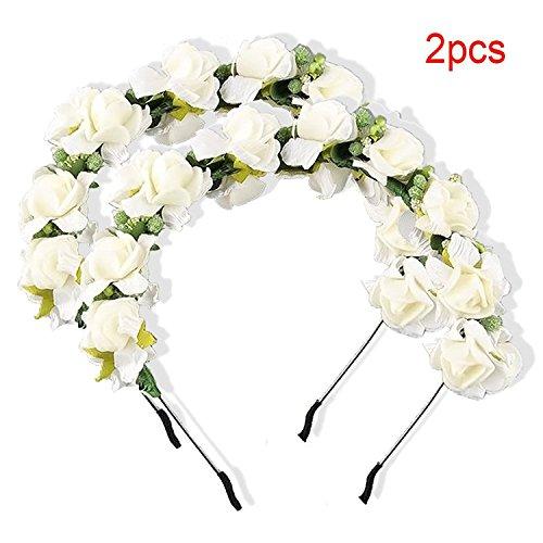 Imixcity 2Pcs Filles Femme Couronne de Fleurs Fête Bal Mariage Serre-tête Cheveux Decor Accessoires Bandeau Mariage Prom