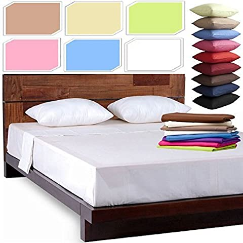 NEW LUXURY PLAIN DYED POLYCOTTON FITTED FLAT BED SHEET SINGLE DOUBLE KING SIZE BEDDING (Duck Egg, King Size Flat Bed Sheet)
