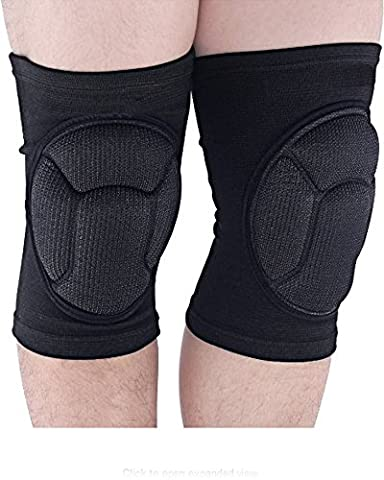 Beauty Nymph Adult Sponge Knee Pads High Elastic Short Knee Sleeves, Black, 1 Pair