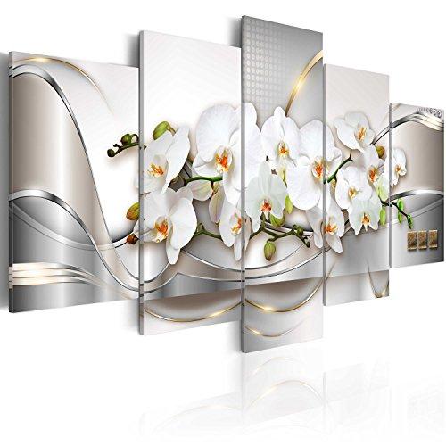 Cuadro en Lienzo 200x100 cm - 3 tres colores a elegir - 5 Partes - Formato Grande - Impresion en calidad fotografica - Cuadro en lienzo tejido-no tejido - abstraccion flores a-A-0004-b-n 200x100 cm B&D XXL