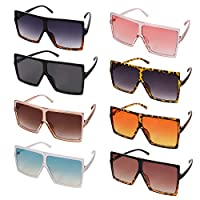 Baring 8 Pieces Retro Oversized Square Sunglasses for Unisex, Flat Top Oversize Sunglasses for Women Men