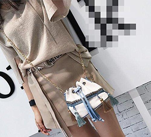 QPALZM 2017 Damen Beutel Einfache Troddel Eimer Tasche Mini Tasche Mini Handtasche Schräge Schultertasche Beige