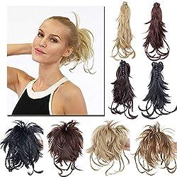 """TESS Ponytail Extensions Pferdeschwanz Haarteil DIY Haarverlängerung Clip in Synthetik Haare für Zopf Haarteil Hair Extensions 12""""(30cm)-100g Hellbraun"""