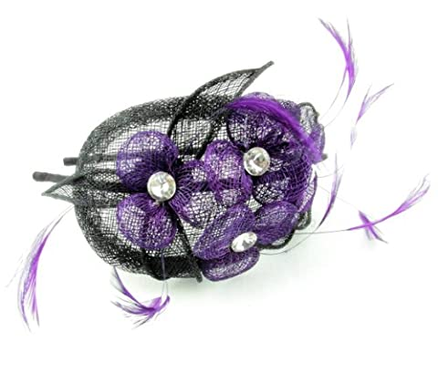 Quality Purple Sinamay Flowers with centre rhinestone on Black Leaves and Tear Drop Shaped Base in Sinamay, this stunning Hair Fascinator is finished with Purple Shaped Feathers on an ultra slim Black satin covered headband