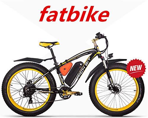 RICH BIT ZDC-022 1000W 48V 17AH Bici Elettriche per Il Ciclismo, con Parafanghi, Giallo