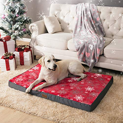 Bedsure Christmas Orthopedic Dog Mattress Snow Red (L, 91.5cm x 68.6cm x 7.6cm) for Small, Medium, Large Pets Up To 34 KG - Foam Dog Bed Cushion Pillow/Mattress with Removable Washable Cover