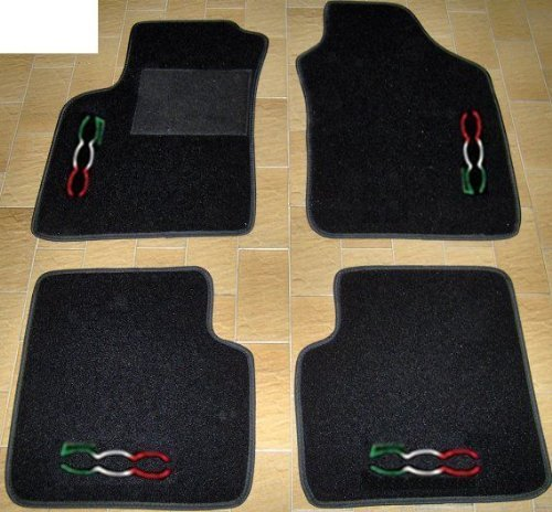 Tappeti per auto, set completo di Tappetini in Moquette su Misura Neri con Ricamo a Filo Tricolore SPEDIZIONE GRATIS