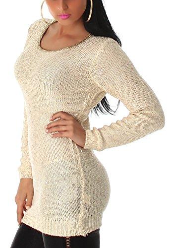 Jela london avec paillettes pour femme pull long avec un goldkettchen taille (36–42) Beige - Beige