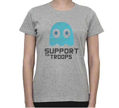 PACMAN Alien Ghost Support Our Troops Women's T-Shirt Gris