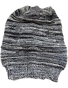 Vococal - Tejidos lana Sombrero de Gorrita Tejida holgado / Gorro de esquí para Invierno Mujer(Negro)
