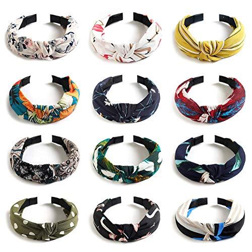 QHYAH Wide Plain Women Stirnbänder, Floral Style Stirnband, Elastic Plain Fashion Haarschmuck Cross Knot Haarbänder mit Tuch gewickelt für Frauen und Girls-12Pcs